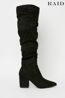 Raid Black Regular Fit Block Heeled Knee High Boot