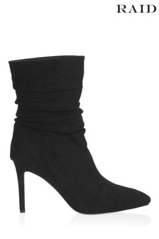 Raid Stiletto Heeled Ruched Ankle Boots