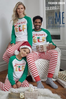 Fashion Union Green Matching Family Christmas Pyjamas