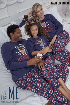 Fashion Union Blue Matching Family Christmas Pyjamas