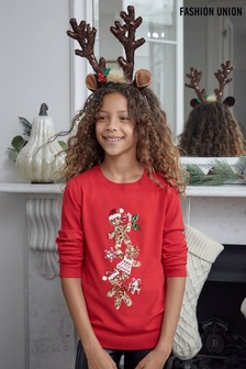 Fashion Union Red Girls Crew Neck Knit Christmas Jumper
