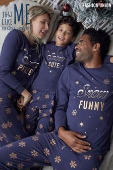 Fashion Union Blue Matching Family Christmas Pyjamas