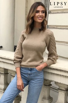 Lipsy Camel Cable Sleeve Detail Jumper
