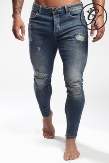 Gym King Blue Ripped Skinny Jeans