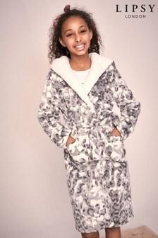 Lipsy Grey Leopard Borg Lined Fleece Robe