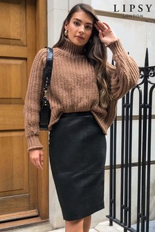 Lipsy Black Leather Pencil Skirt