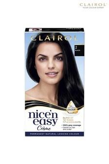 Clairol Nice' n Easy Crème, Natural Looking Oil Infused Permanent Hair Dye, 2 Black 177 ml