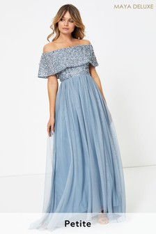 Maya Blue Petite Embellished Bardot Maxi Dress