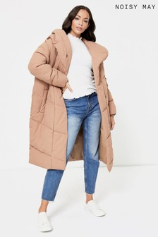 Noisy May Brown Hooded Padded Jacket