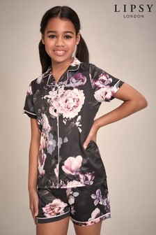 Lipsy Black Floral Satin Short PJ Set