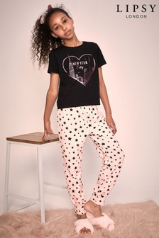 Lipsy Girl Black/Pink Short Sleeve Long Leg Pyjama Set