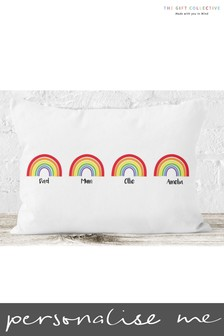 Personalised Family Rainbow Cushion by Gift Collective