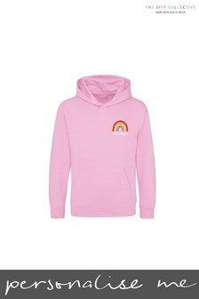 Personalised Pink Rainbow Kids Hoody by Gift Collective
