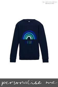 Personalised Blue Rainbow Sweatshirt by Gift Collective