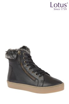 Lotus Footwear Black Leather High Top Trainers