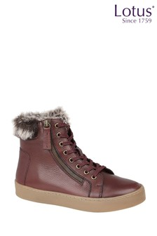 Lotus Footwear Burgundy Leather High Top Trainers