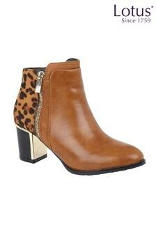 Lotus Footwear Brown Printed Ankle Boots