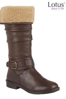 Lotus Footwear Brown Leather Knee High Boots