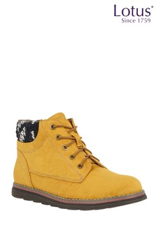 Lotus Yellow Footwear Lace-Up Ankle Boots