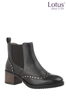 Lotus Footwear Black Leather Pull-On Ankle Boots