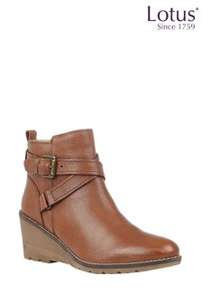 Lotus Footwear Brown Leather Round Toe Ankle Boots