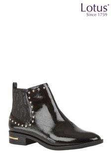 Lotus Footwear Black Studded Ankle Boots