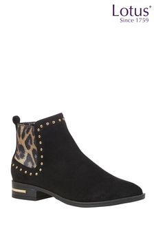 Lotus Black Leopard Footwear Studded Ankle Boots