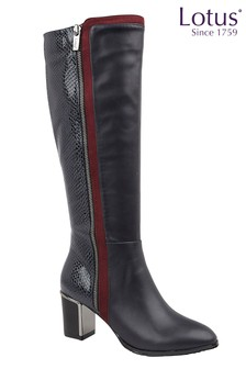 Lotus Footwear Navy Knee High Boots