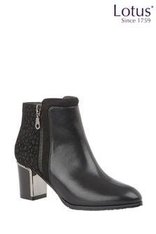 Lotus Footwear Black Printed Ankle Boots