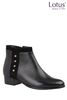 Lotus Footwear Black Leather & Suede Studded Ankle Boots