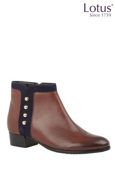 Lotus Brown Leather & Suede Studded Ankle Boots
