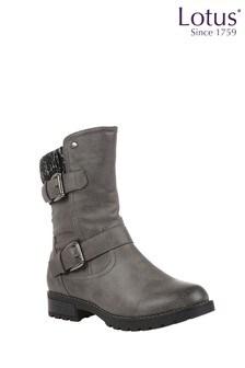 Lotus Grey Mid Calf Boots