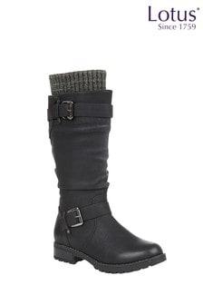 Lotus Black Knee High Boots