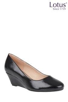 Lotus Footwear Black Crinkle Shiny Wedge Shoes