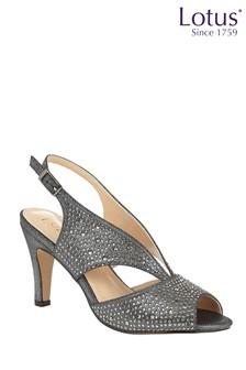 Lotus Grey Diamanté Open Toe Shoes