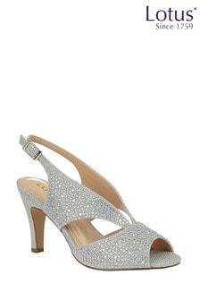 Lotus Footwear Silver Diamante Open Toe Shoes