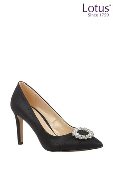 Lotus Black Textile Court Shoes
