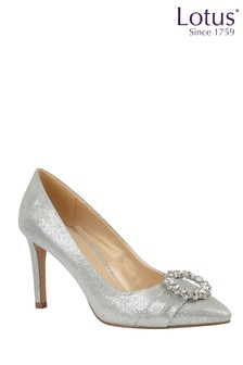 Lotus Footwear Silver Textile Court Shoes