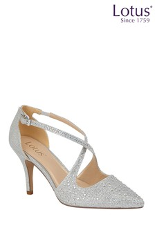 Lotus Footwear Silver Diamante Court Shoes
