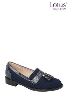 Lotus Footwear Navy Textile Loafers