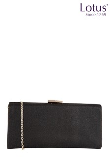 Lotus Footwear Black Shimmer Clutch Bag with Chain