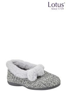 Lotus Footwear Grey Textile Knitted Slippers