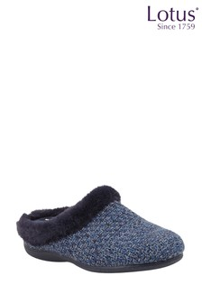 Lotus Footwear Navy Textile Knitted Slippers