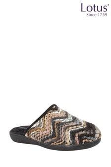 Lotus Footwear Black Bordo Mule Slippers