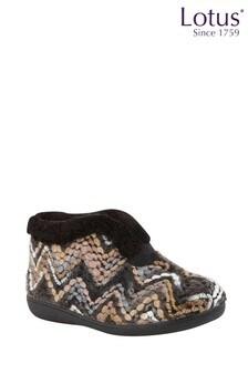 Lotus Footwear Black Bordo Bootie Slippers
