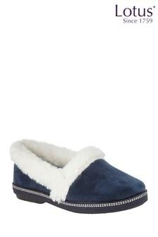 Lotus Footwear Navy Textile Slippers