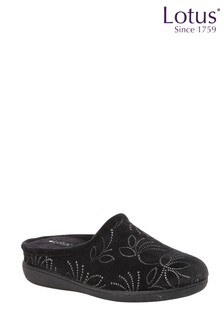 Lotus Footwear Black Mule Slippers