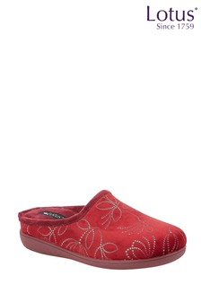Lotus Footwear Red Mule Slippers