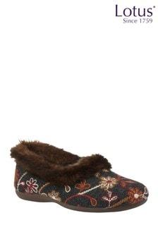 Lotus Footwear Brown Multi Textile Slippers