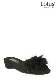 Lotus Footwear Black Diamante Open Toe Slippers
